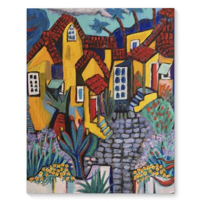 'Yellow Courtyard' Graphic Art Print on Canvas Size: 20
