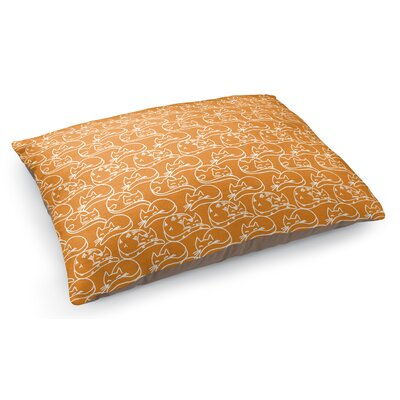 Doodle Cat Pillow Color: Orange/White