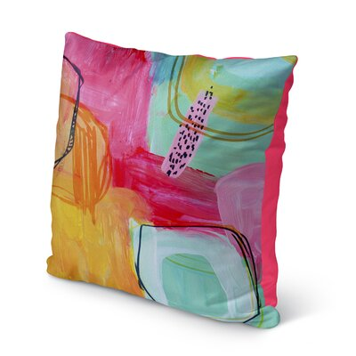 Chauntel Pink Indoor/Outdoor Throw Pillow Size: 16 H x 16 W x 8 D