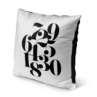 Willer Numbers Indoor/Outdoor Throw Pillow Size: 26 H x 26 W x 8 D