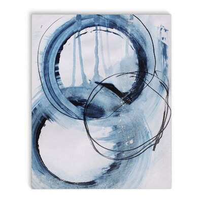 'Blue Abstract' Rectangle Painting Print on Canvas in Blue/Ivory