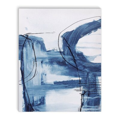 'Blue Abstract' Rectangle Graphic Art Print on Canvas