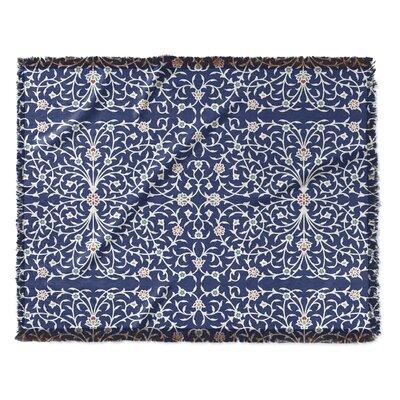 Elizebeth Woven Blanket Size: 50 W x 60 L, Color: Blue/Ivory