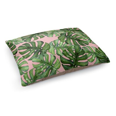 Tropical Leafs Pet Bed Pillow Color: Pink/ Green