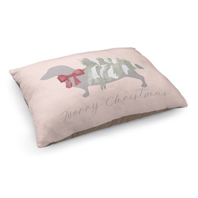 Meowy Christmas Dashound Pet Bed Pillow Color: Red/ Grey/ Pink