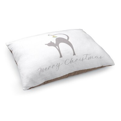 Meowy Christmas Cat Pet Bed Pillow Color: Grey/ Blue