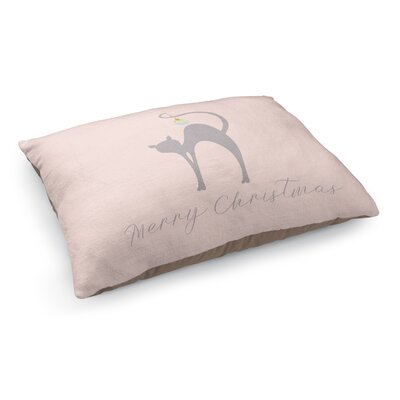 Meowy Christmas Cat Pet Bed Pillow Color: Pink/Gray