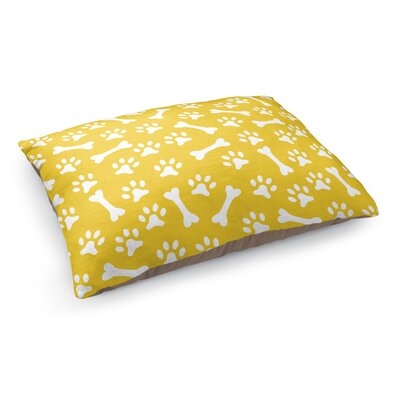 Bone Prints Pet Bed Pillow Color: Yellow/White
