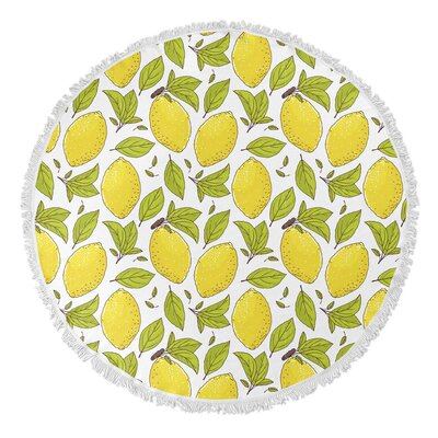Lemon Round Beach Towel