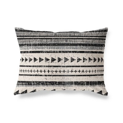 Albert Triangle Stripe Outdoor Lumbar Pillow Color: Ivory/Gray/Beige