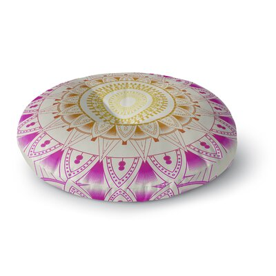 Kangana Round Indoor/Outdoor Floor Pillow Size: 26 H x 26 W, Color: Purple/Ivory