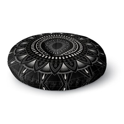 Kangana Round Double Sided Print Floor Pillow Size: 26 H x 26 W, Color: Black
