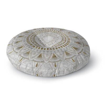 Kangana Round Double Sided Print Floor Pillow Size: 23 H x 23 W, Color: Gold/Pearl
