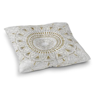 Kangana Double Sided Print Floor Pillow Size: 26 H x 26 W, Color: Gold/Pearl