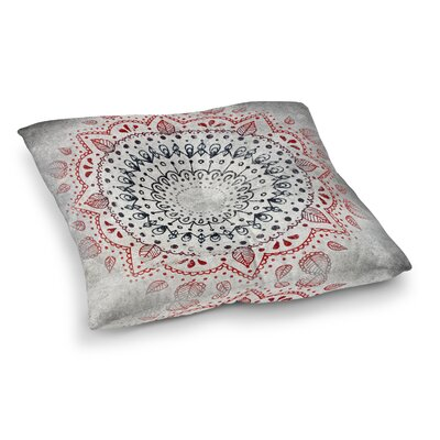 Kangana Square Bohemian Floor Pillow Size: 26 H x 26 W, Color: Red/White