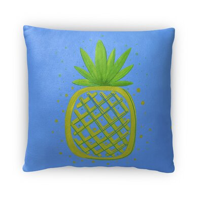 Ellenton Pineapple Throw Pillow Size: 18 x 18, Color: Yellow/Blue