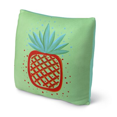Ellenton Pineapple Throw Pillow Size: 18 x 18, Color: Red/Green