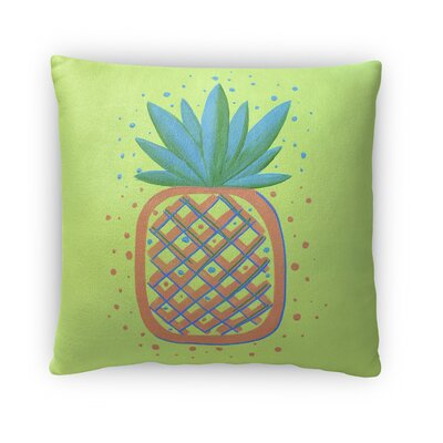 Ellenton Pineapple Throw Pillow Size: 18 x 18, Color: Orange/Blue