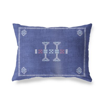 Zoe Kilim Lumbar Pillow Color: Indigo, Size: 12 x 16