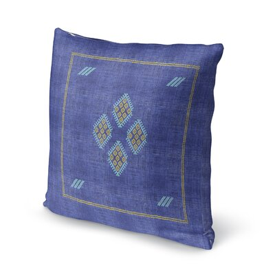 Stellan Kilim Throw Pillow Color: Bright Indigo, Size: 18 x 18