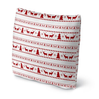 Deer and Trees Outdoor Throw Pillow Size: 16 x 16