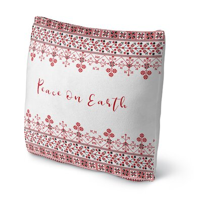 Peace on Earth Outdoor Throw Pillow Size: 16 x 16