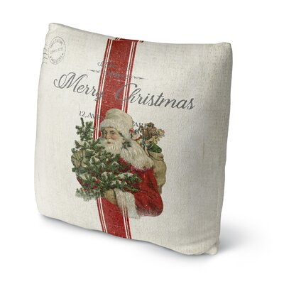 Santa Outdoor Throw Pillow Size: 16 x 16, Color: Ivory/ Red/ Green