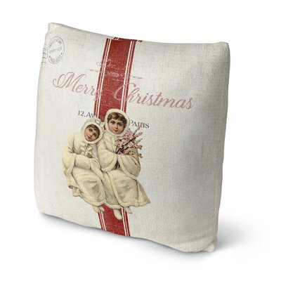 Maddix Children At Christmas Outdoor Throw Pillow Size: 16 x 16