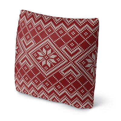 Snowflake Outdoor Throw Pillow Size: 18 x 18, Color: Pink/White