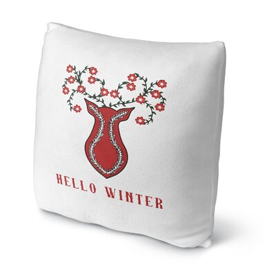 Hello Winter Outdoor Throw Pillow Size: 18 x 18