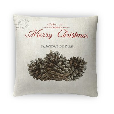 Laurelynn Pine Cone Christmas Outdoor Throw Pillow Size: 16 x 16