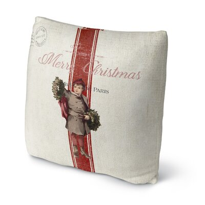 LeighAnn Christmas Boy Outdoor Throw Pillow Size: 18 x 18