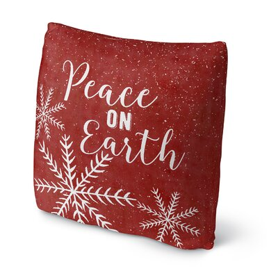 Snowing Peace on Earth Outdoor Throw Pillow Size: 16 x 16