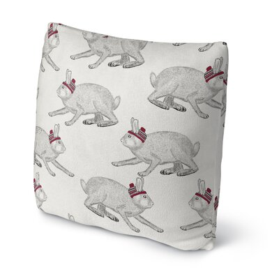 Christmas Bunnies Outdoor Throw Pillow Size: 18 x 18, Color: Brown