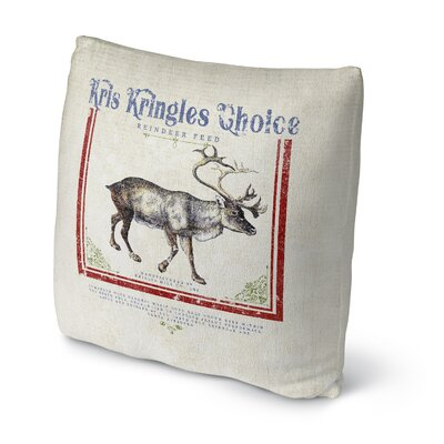 Reindeer Feed Outdoor Throw Pillow Size: 18 x 18