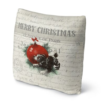 Konner Christmas Puppy Outdoor Throw Pillow Size: 16 x 16