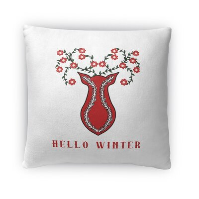 Hello Winter Outdoor Throw Pillow Size: 16 x 16