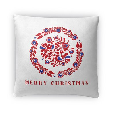 Merry Christmas Birds Outdoor Throw Pillow Size: 16 x 16