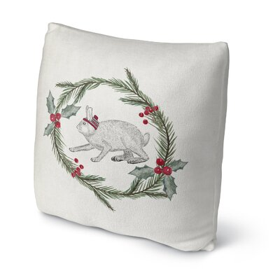 Bunny Christmas Outdoor Throw Pillow Size: 16 x 16, Color: Green/ Red/ Grey/ Ivory