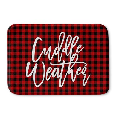 DeAngelo Cuddle Weather Memory Foam Bath Rug Color: Red/ Black, Size: 0.75 H x 36 W  x 24 D