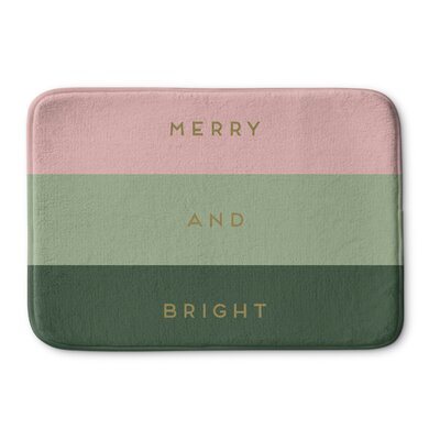 Infante Merry And Bright Memory Foam Bath Rug Color: Pink/ Green, Size: 0.75 H x 24 W  x 17 D