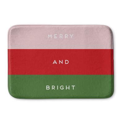 Infante Merry And Bright Memory Foam Bath Rug Color: Pink/ Red/ Green, Size: 0.75 H x 24 W  x 17 D