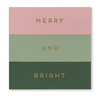 'Merry and Bright' Square Textual Art on Wrapped Canvas