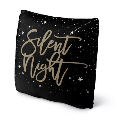 Silent Night Outdoor Throw Pillow Color: Black/ Gold, Size: 18 x 18