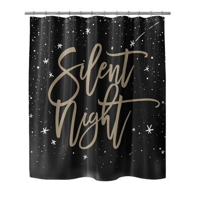 Chauvin Silent Night Shower Curtain Size: 90 H x 70 W, Color: Black/Gold