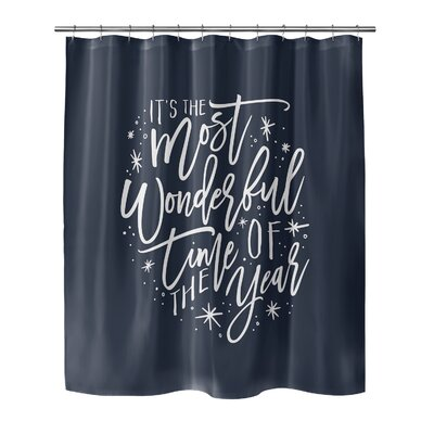 Giannini The Most Wonderful Time Shower Curtain Color: Blue/ White, Size: 90 H x 70 W