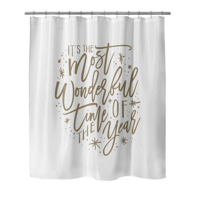 Giannini The Most Wonderful Time Shower Curtain Size: 90 H x 70 W, Color: White/Tan