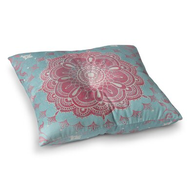 Boho Bloom Square Floor Pillow Size: 26 H x 26 W x 12.5 D, Color: Pink/ Blue