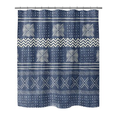 Couturier Woven Shower Curtain Color: Indigo, Size: 90 H x 70 W x 0.1 D