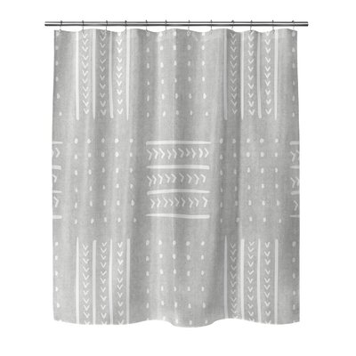 Couturier Geometric Woven Shower Curtain Color: Grey, Size: 90 H x 70 W x 0.1 D
